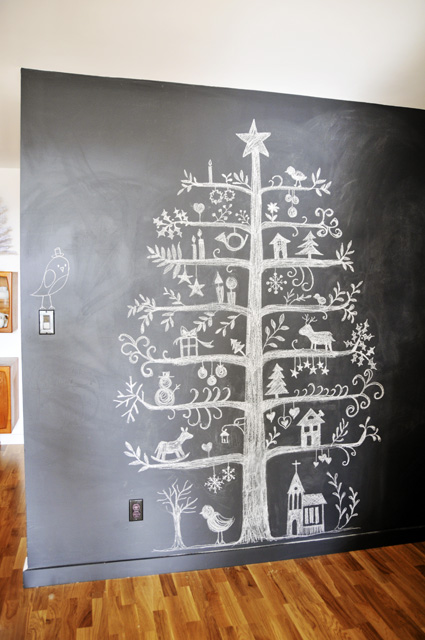 Christmas tree drawn on a chalkboard