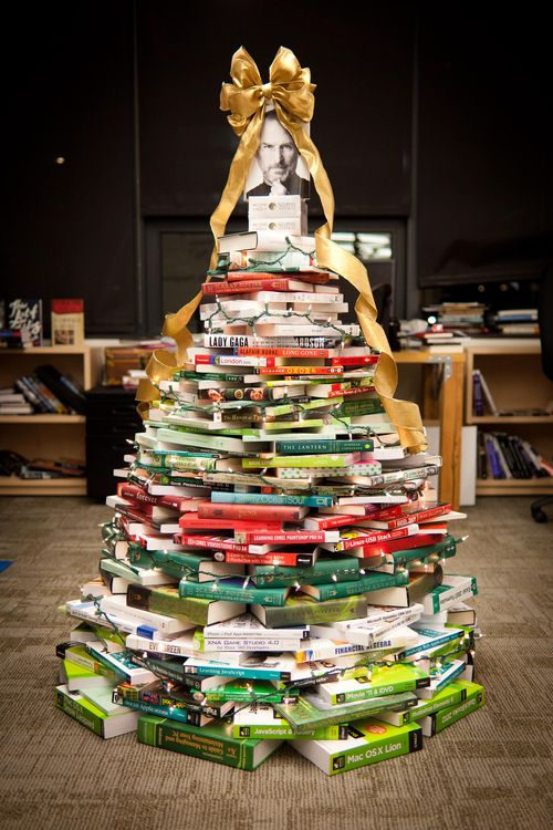 Christmas tree made with books