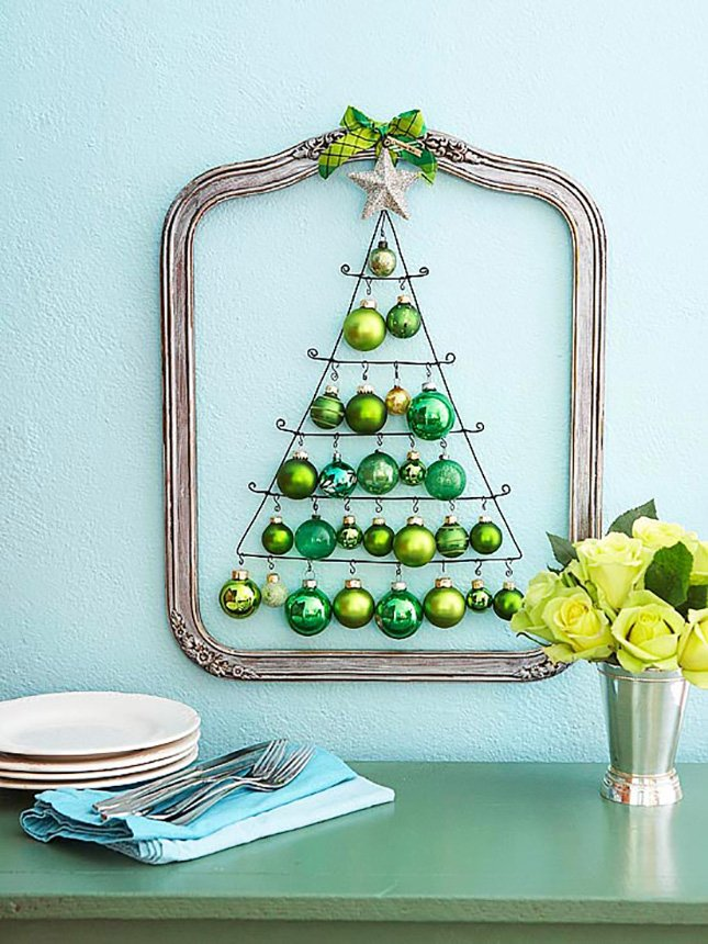 Christmas tree made with classic Christmas ornaments