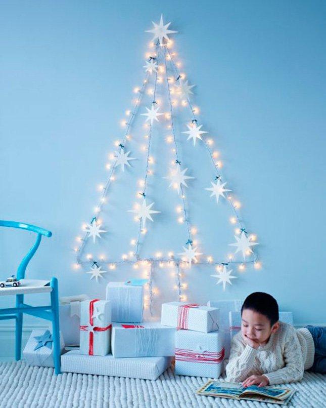 Christmas tree made with lights