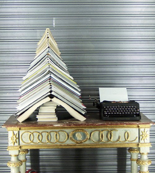 Christmas tree made with open books