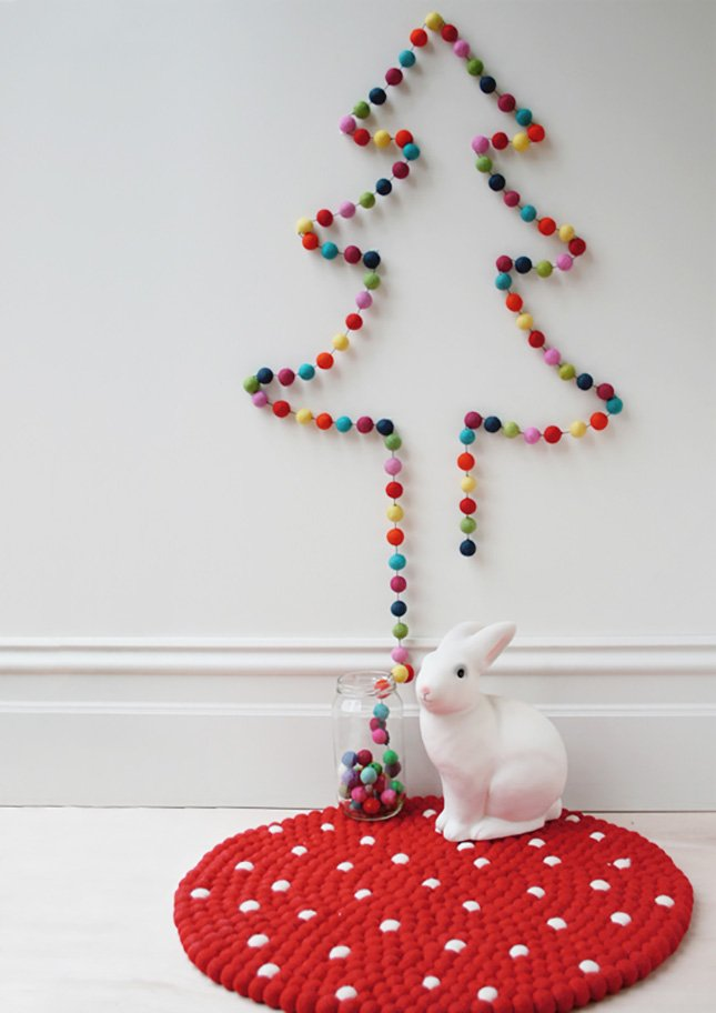 Christmas tree made with pompoms