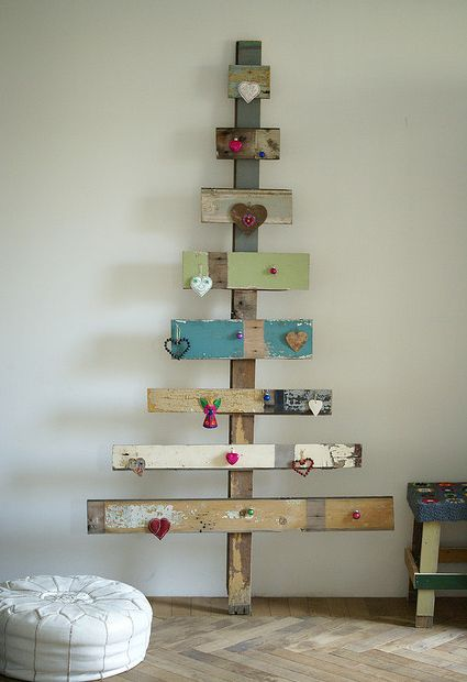 Christmas tree made with scrap wood