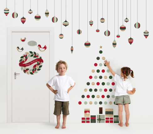 Christmas tree made with stickers