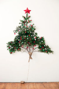 Christmas tree with natural branches