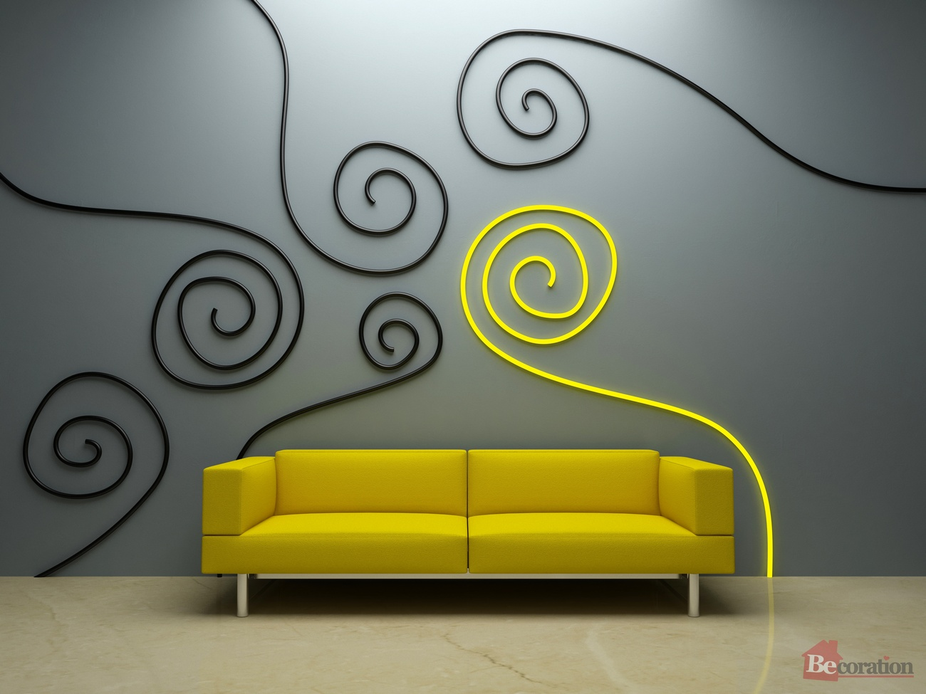 Interior design - Yellow couch and decor
