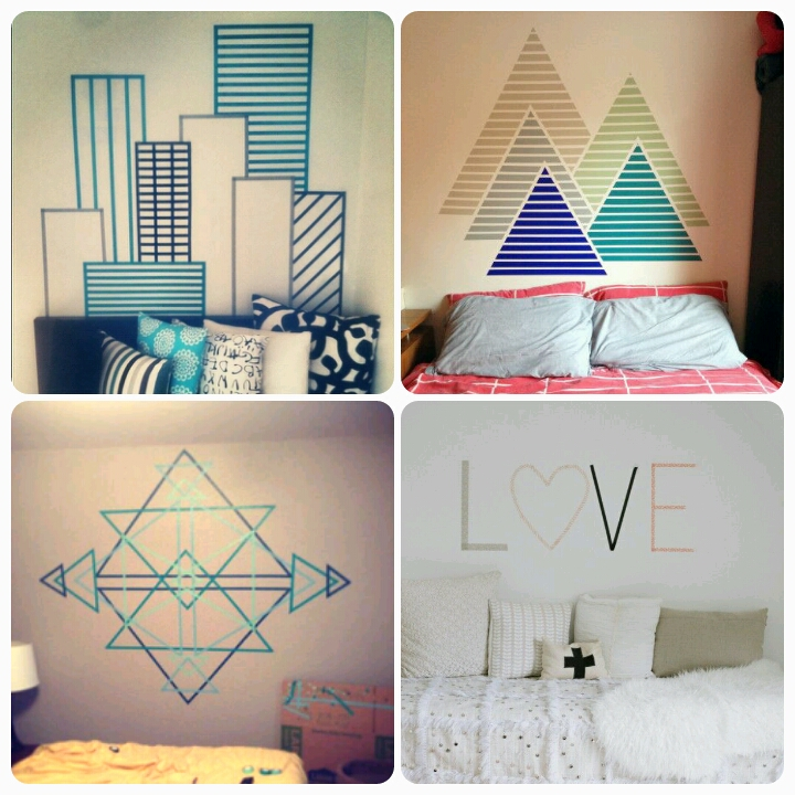 Decorating walls with washi tape - becoration