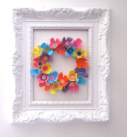egg carton decoration with frame