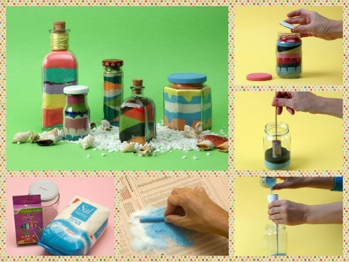 bottles decorated with colored sand