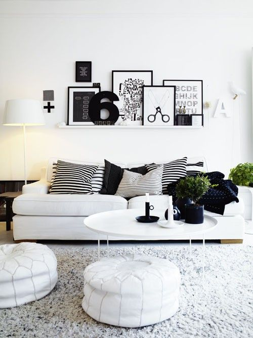 If you want to add some contrast to your decoration but keeping all the good things of white decor then cover your walls with black and white frames