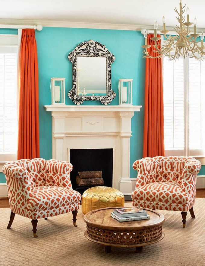 Turquoise and orange decor - becoration
