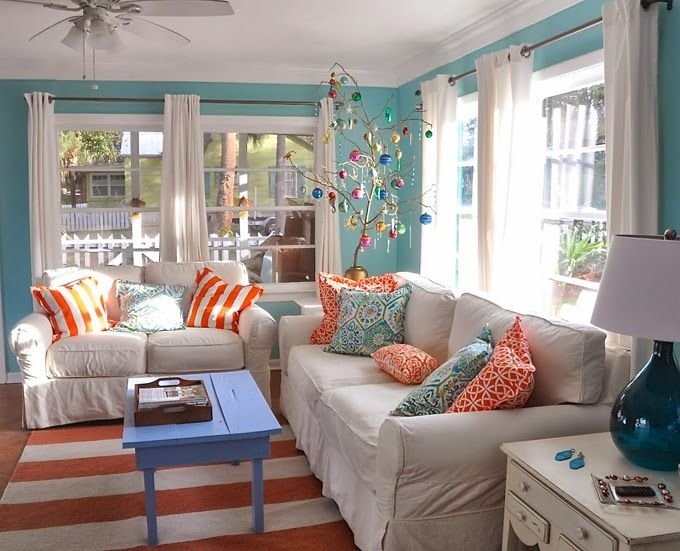 Orange and Blue Living Room Decor Living Room Design Inspirations