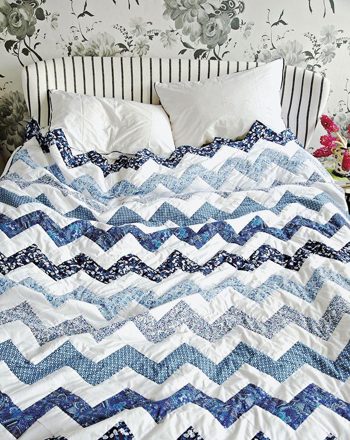 blue zig-zag quilt