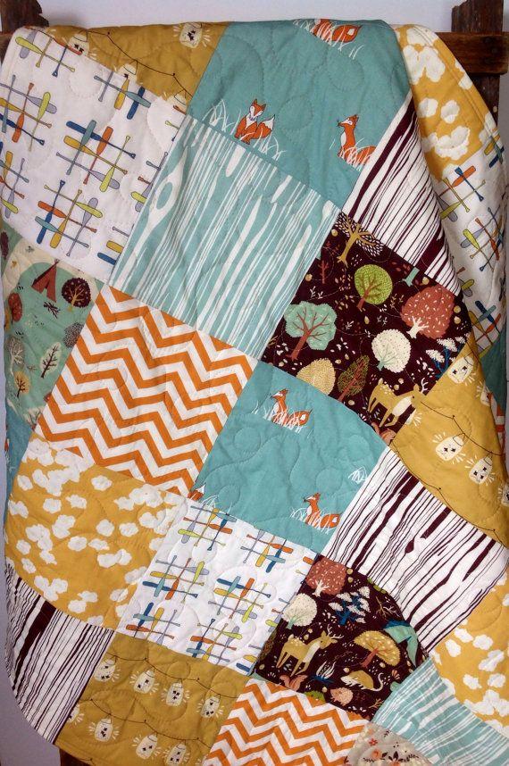 orange and blue quilt