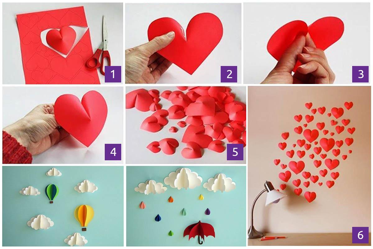4 diy ideas for decorating walls 3d paper elements for decorating walls amipublicfo Image collections