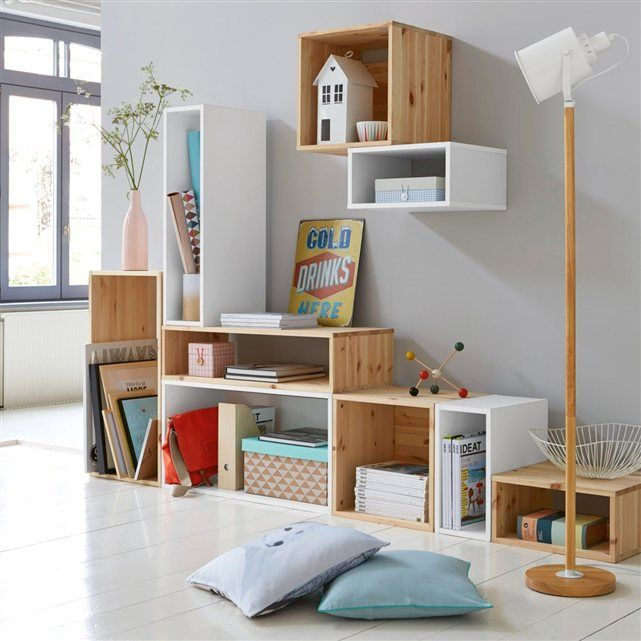 Decorating with recycled wooden boxes becoration - Etagere bibliotheque bois ...